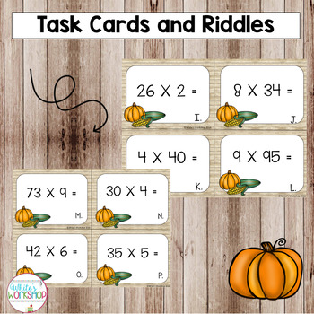 Thanksgiving Task Cards: Multiplication