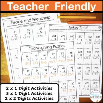 Thanksgiving Task Cards: Multiplication