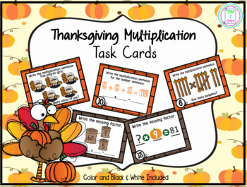 Thanksgiving Multiplication Task Cards