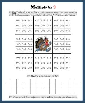 Thanksgiving Multiplication (Tic-Tac-Toe)