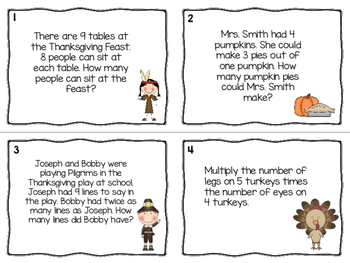 Thanksgiving Multiplication Word Problems Task Cards