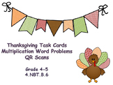 Thanksgiving Multiplication Word Problems Task Cards with