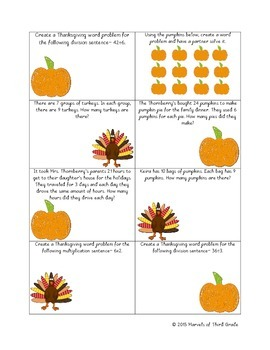 Thanksgiving: Multiplication and Division- Math Center Activities