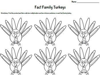 Thanksgiving Multiplication and Division Fact Family Turkeys (Common Core)