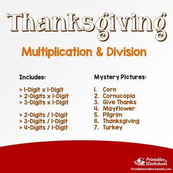 Thanksgiving Multiplication and Division Mystery Pictures