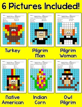 Thanksgiving Math Multiplication and Division Mystery Pictures: Turkey, Pilgrims
