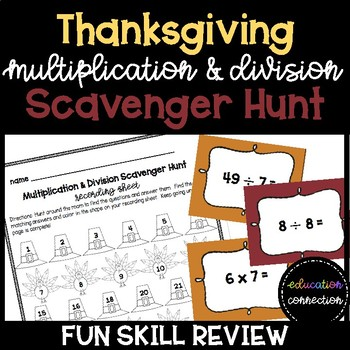 Thanksgiving Multiplication and Division Scavenger Hunt