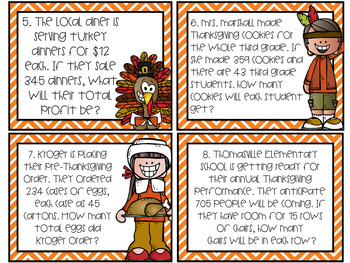 Thanksgiving Multiplication and Division Task Cards
