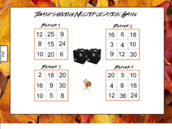 Thanksgiving Multiplication for Smart Board