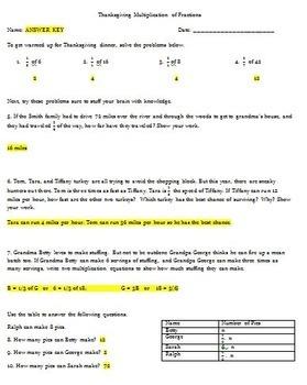 Thanksgiving Multiplication Fractions