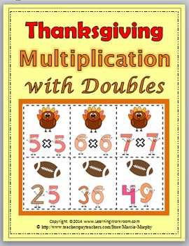 Multiplication Facts with Doubles Thanksgiving - Fall Acti