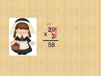 Thanksgiving Multiplying 2-Digits by 1-Digit (Regrouping)
