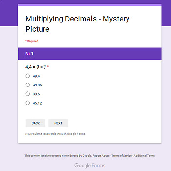 Thanksgiving: Multiplying Decimals - Mystery Picture - Google Forms