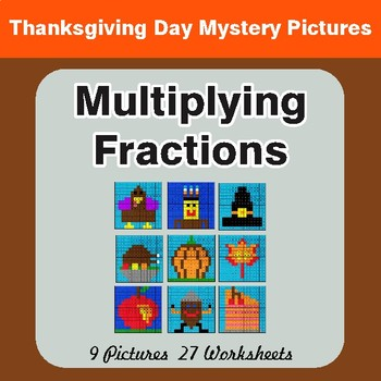 Thanksgiving: Multiplying Fractions - Color-By-Number Mystery Pictures