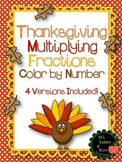 Thanksgiving Multiplying Fractions Color by Number - DIFFE