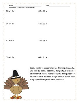 Thanksgiving Multiplying Whole Numbers