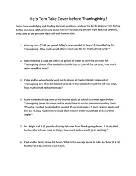 Thanksgiving Math  Word Problems Activity: Multiplying and Dividing Decimals