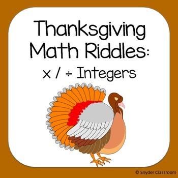 Thanksgiving Multiplying and Dividing Integers Math Riddles