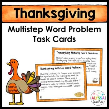 Thanksgiving Multistep Word Problem Task Cards (Grade 4)