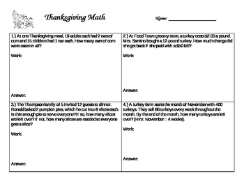 Thanksgiving Multistep Word Problems (with flipchart)