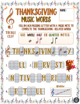 Thanksgiving Music Activity! Thanksgiving Word Letter/Note Fill-Ins
