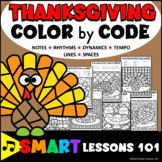 Thanksgiving Music Color by Code Color by Note Color by Rhythm Dynamics Tempo