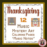 Thanksgiving Music Coloring Sheets: 12 Music Coloring Pages: Music Mystery Art