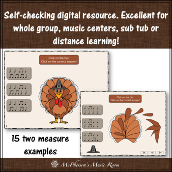 Thanksgiving Music Game Quarter Notes & Eighth Notes {Interactive Rhythm Game}