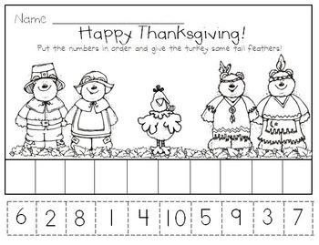 Thanksgiving Literacy and Math Activities for Kindergarten