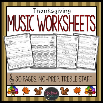 Thanksgiving Music Worksheets - Treble Staff