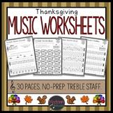 Thanksgiving Music Worksheets - Treble Staff