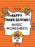 Thanksgiving Music Worksheets_NO PREP_Set of 20