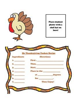 Thanksgiving, My Thanksgiving Turkey Recipe Activity