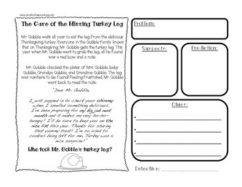 Thanksgiving Mysteries for Inferencing, Making Predictions, Drawing Conclusions