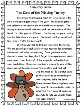 Thanksgiving Mystery Game with Math Challenge Clues!