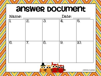 Thanksgiving Mystery Numbers - Problem Solving for Common Core - Owls