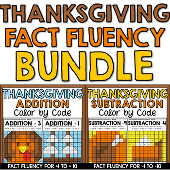 Thanksgiving Mystery Picture Fact Fluency BUNDLE Addition & Subtraction to 20