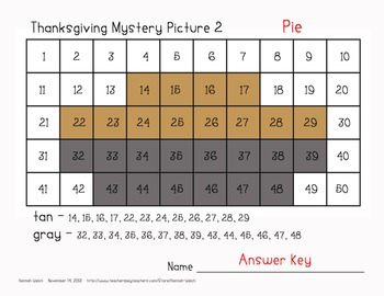 Thanksgiving Mystery Pictures - 50 Chart