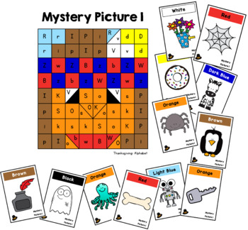 Thanksgiving Mystery Pictures: Letters and CVC Words