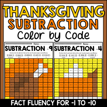 Thanksgiving Mystery Pictures Subtraction Fact Fluency -1 to -10