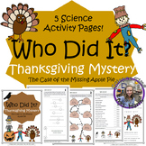 Thanksgiving Mystery- Science Activity Packet