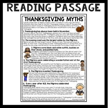 Thanksgiving Myths article & questions, comprehension, November, Holidays