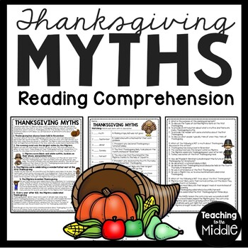 Thanksgiving Myths article & questions, comprehension, Nov
