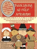 Thanksgiving NO PREP Articulation Packet!