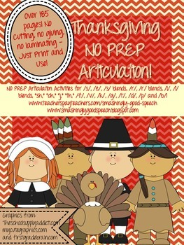 Thanksgiving NO PREP Articulation Packet!