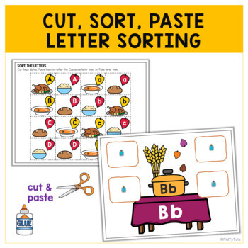Thanksgiving Letter Activities - Letter Sorting Thanksgiving Dishes