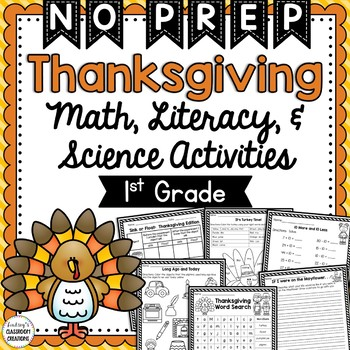 Thanksgiving Math, Literacy, Science, & Social Studies Worksheets - Print & Go!