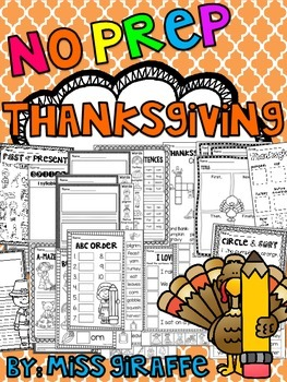 Thanksgiving Activities (No Prep November Worksheets and Writing Activities)