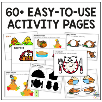Thanksgiving NO-PREP Preschool Center : 14 Centers Activities for Preschools!