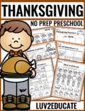 Thanksgiving NO PREP Preschool Packet